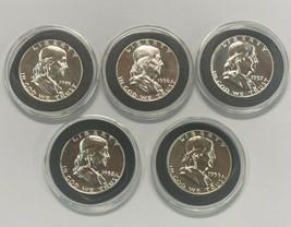 1955 1956 1957 1958 1959 Franklin  Silver Proof Half $1 in Capsules 5 Co... - $199.75