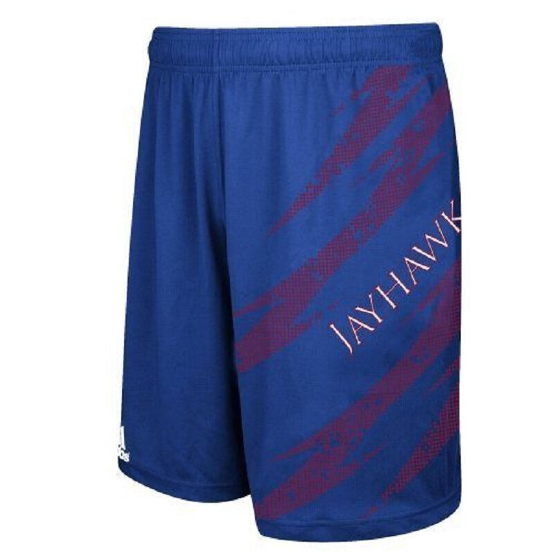 Kansas Jayhawks Shorts Men's Adidas AfterShock Athletic Short NEW Licensed