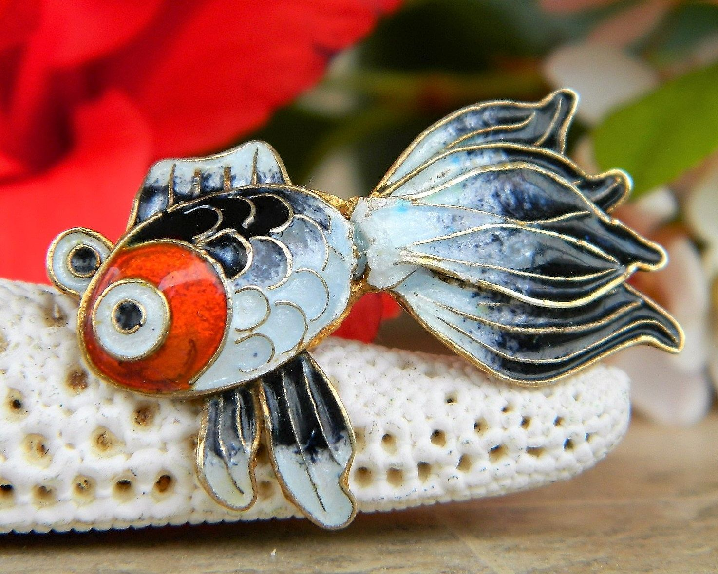 Primary image for Vintage Fish Koi Fancy Tail Brooch Pin Enamel Sterling Silver Vermeil
