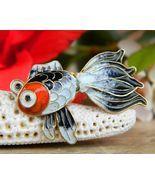 Vintage Fish Koi Fancy Tail Brooch Pin Enamel Sterling Silver Vermeil - $24.95