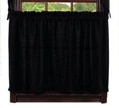 Olivia's Heartland country primitive farmhouse BURLAP BLACK window Tier ... - $34.95+