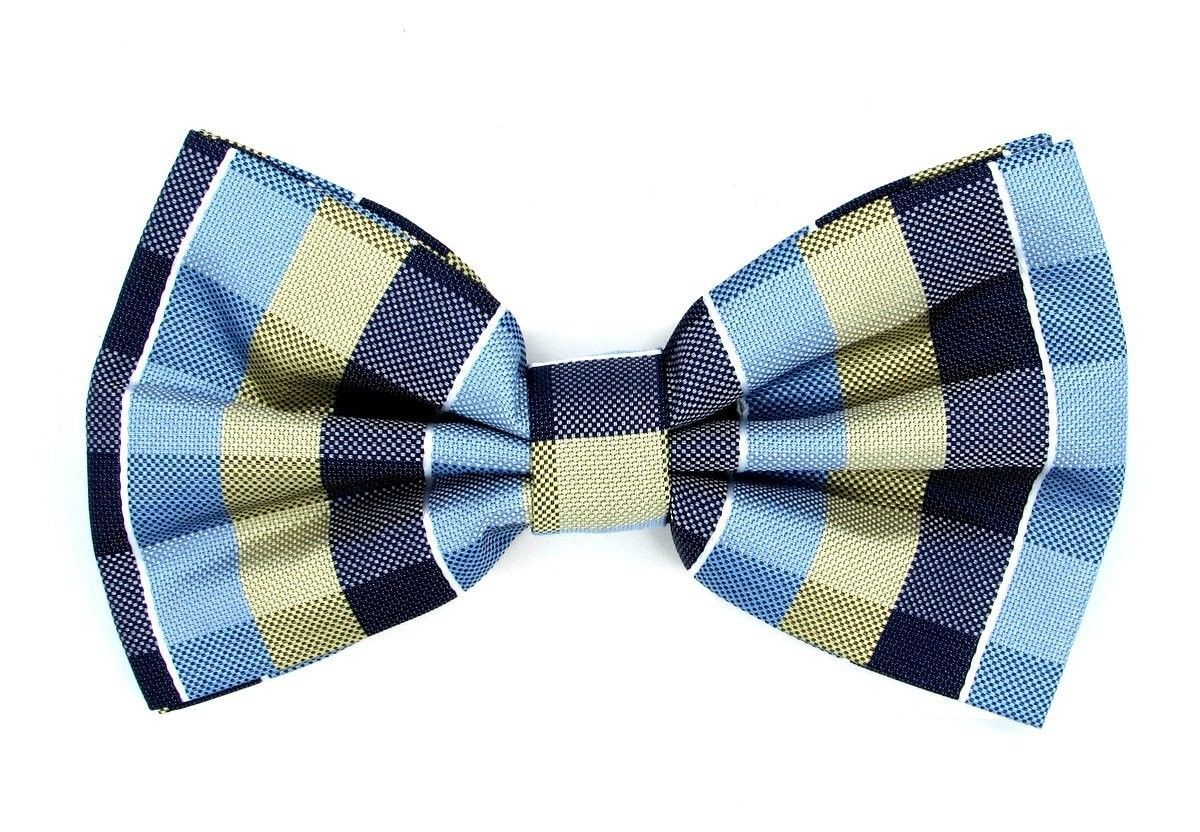Oliver George Bow-Tie (Blue-Navy-Light Yellow) 2411-D