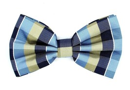 Oliver George Bow-Tie (Blue-Navy-Light Yellow) 2411-D - $12.90