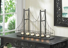 Candle Holder Shaped as Golden Gate Suspension Bridge 6 Fluted Cup Centerpiece - $47.45