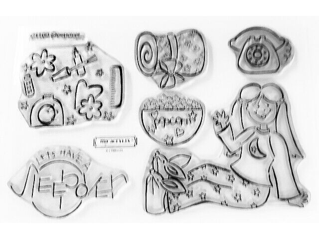 Close to My Heart Sleepover Clear Cling Acrylic Stamp Set #C1160