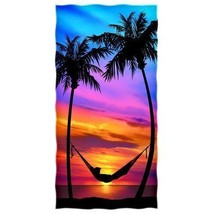 "Beach Towel Palm Tree Sunset Shower Bath Pool Cotton Towels Blanket 30"" ... - $20.04"