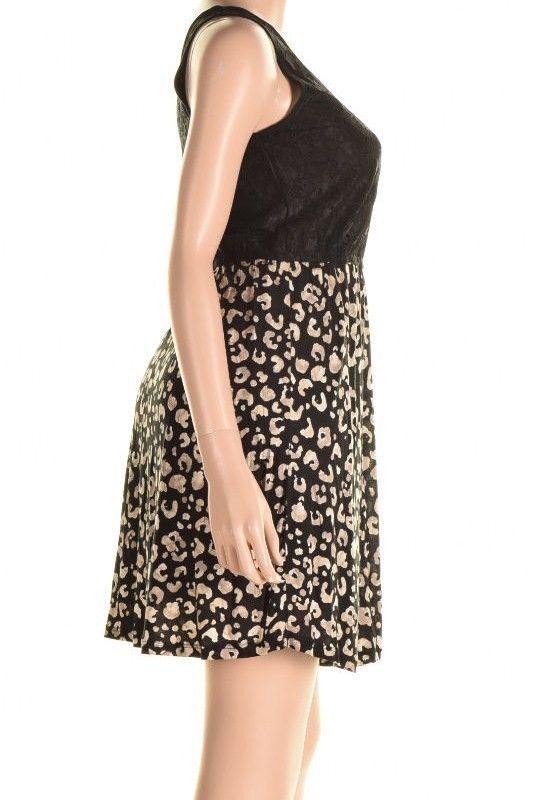 Kensie Black Contrast Lace Top Cheetah Print Skirt Sleeveless Dress S image 5