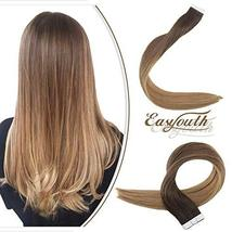 Easyouth 16inch Ombre Hair Extensions Tape in Real Hair Color 2 Darkest Brown Fa image 7