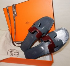 Hermes Limited Edition Bicolor H Sandals Leather flat shoes NEW - $875.00