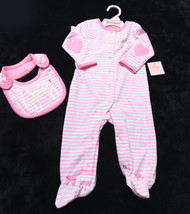 Nwt New Juicy Couture Baby Girls Infant 2 Piece Footie With Bib Sz 3-6 Months - $47.95