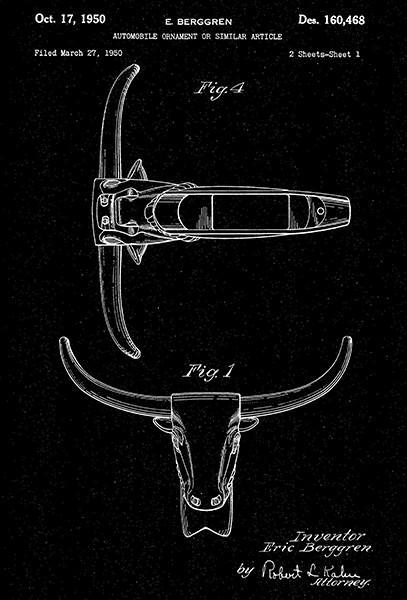 Primary image for 1950 - Steer Head Automobile Ornament - E. Berggren - Patent Art Poster