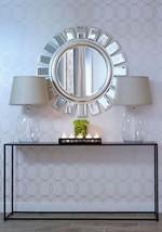 Horchow Sunburst Round Silver/Gold Leaf Wall Buffet Mirror NEW - $324.80
