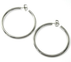 "925 STERLING SILVER CIRCLE HOOPS BIG EARRINGS, 6 cm x 4 mm (2.4"" X 0.15"") SMOOTH image 2"