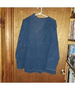 Split Cowl Neck Blue Cabled Sweater - 3X - $23.74