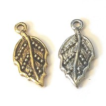 LEAF FINE PEWTER CAST CHARM - 9x18.5x1.5mm