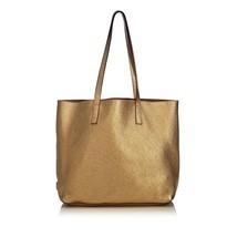 Vintage Prada Gold Others Leather Metallic Vitello Daino Tote Bag Italy - $578.94