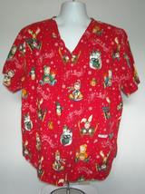Let It Snow Snowman Teddy Bears Moose Snowflakes Red Scrub Shirt Womens 2XL - $21.73