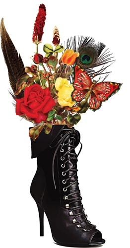 black lace goth boot vase flowers printable art clipart png download digital