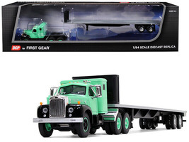 Mack B-61 Sleeper Cab 48' Flatbed Trailer Antique Green 1/64 Diecast Fir... - $74.95