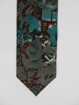 Italian Mens Neck Tie Green Mottled Print Abstract 100% Silk Made in USA - $29.68
