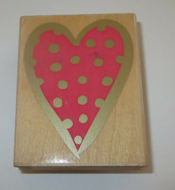 Dot HEART Rubber Stamp Love Hero Arts 1998 Bold Border Wood Mounted Cards - $4.64