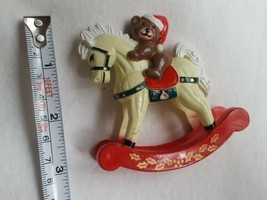 Vintage REED Teddy Bear On Rocking Horse hard Plastic Christmas xmas Dec... - $15.83