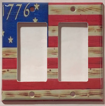 Betsy Ross star 1776 US Flag Wooden Light Switch Duplex Outlet wall Cover Plate  image 4