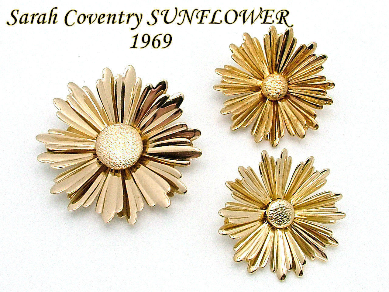 Sarah Coventry SUNFLOWER Brooch Earrings Set From 1969 Gold Tone