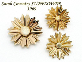 Sarah Coventry SUNFLOWER Brooch Earrings Set From 1969 Gold Tone - $12.95