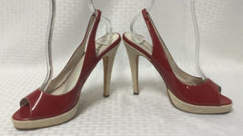 High Sz Shoes Slingback 8 Leather Peeptoe Patent Sandals Red BEBE Heel UBqTff