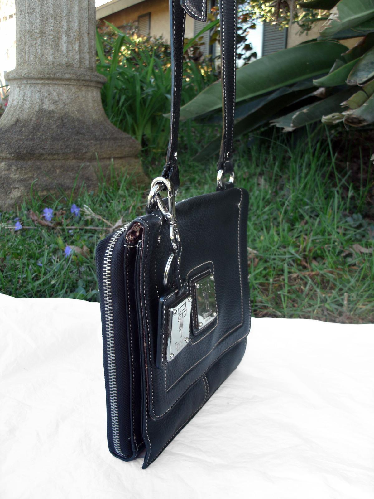 Tignanello Black Pebbled Leather Organizer Crossbody built in Wallet image 3