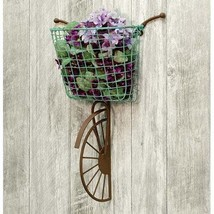 FARMHOUSE WALL BIKE with WIRE BASKET SHABBY CHIC Coastal BIKE - $49.95