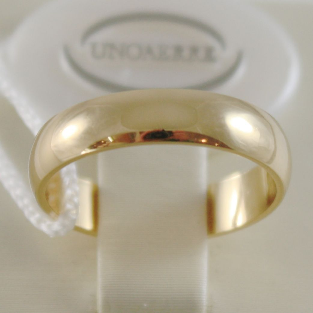 SOLID 18K YELLOW GOLD WEDDING BAND FLAT RING 4 GRAMS BY UNOAERRE MADE IN ITALY