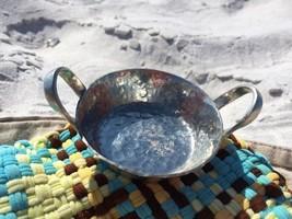 "Vintage BOLMETAL Miniature Hammered Double Handled Bowl Dish 3 3/8"" Silv... - $22.50"