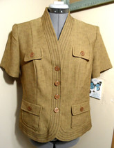 SAG HARBOR Twill look Blazer Jacket  8 Brown weave Button up Jacket Dres... - $18.80