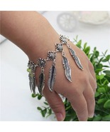 Bohemian Antique Silver Flower Leaf Tassel Brac... - $18.00