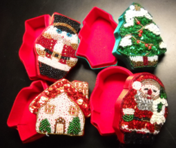 Dillard's Trimmings Christmas Themed Boxes Festive Sequins and Beads Fou... - $10.99
