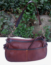 Dooney & Bourke Saddle Tan Brown Red Leather Pocket Hobo Brass Duck Charm DS455 image 7