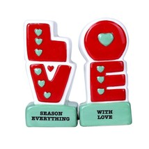 L.O.V.E Season Everything with Love Ceramic Magnetic Salt and Pepper Sha... - $12.99