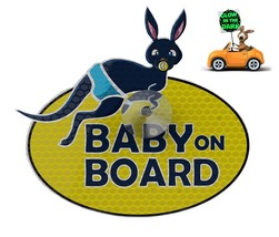 """Glow-in-the-dark UV Reflecting """"Baby on board"""" Car Sign with Suction Cup - $5.92"""