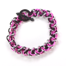 Artisan Bracelet Chain Mail Elf Weave Black and Hot Pink C39-92 7inch - $11.19