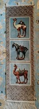 Double Peachy Hand Knitted Carpet Rug Wall Art Camels, Horse with Saddles - $149.99