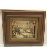Henry Hau 1950's WINTER TRANQUILITY Puerto Rico oil painting 17 X 20 fra... - $280.49
