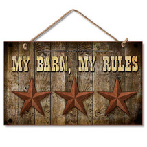 Western Wooden Sign Wall Plaque My Barn My Rules Rustic Stars - $12.99