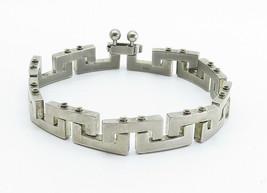 925 Sterling Silver - Vintage Shiny Greek Key Link Chain Bracelet - B6011 image 2