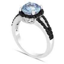 Aquamarine & Enhanced Black Diamonds Engagement Ring 14K White Gold  2.1... - $2,050.00