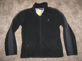 NEW NAUTICA FULL Zip Fleece Jacket S SM SMALL OTB TRUE BLACK $79.50 K442... - $42.03