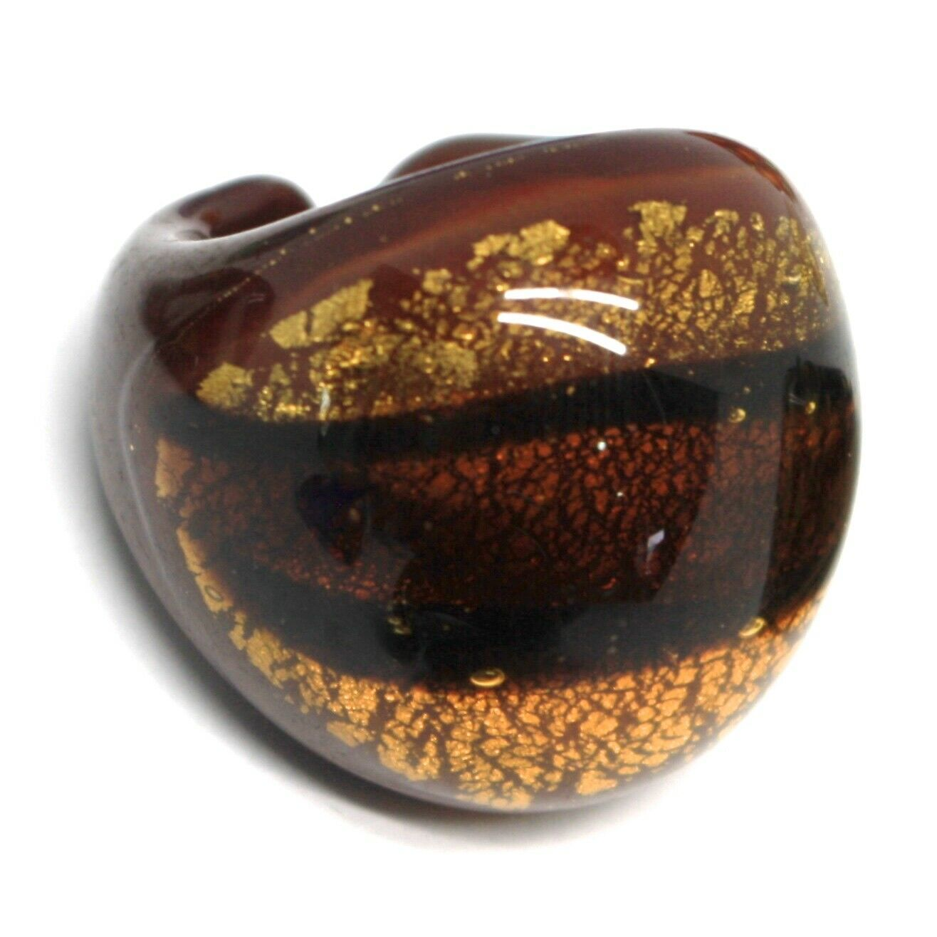Ring Antica Murrina, Murano Glass, Brown, Yellow, Leaf Golden, Band