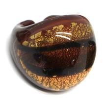 Ring Antica Murrina, Murano Glass, Brown, Yellow, Leaf Golden, Band image 1