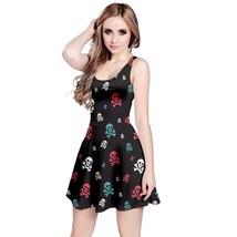 Women's Skulls Printed Elastic Stretchy Swing Sleeveless Dress (XS-5XL, Black) - $27.99+
